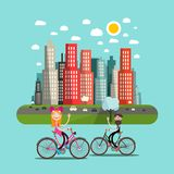 City with People on Bicycles and Skyscrapers. Flat Design City with People on Bicycles and Skyscrapers vector illustration