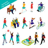 City People Isometric Set Stock Images