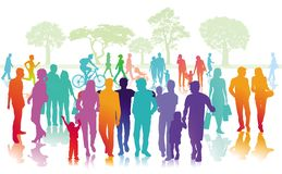 City people in park stock illustration