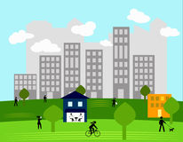City people. People on a sunny day in the park royalty free illustration