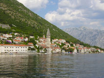 City of Perast, gulf Kotor, coast of Montenegro. View from the sea of the city of Perast in the gulf Kotor Stock Photos