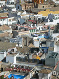 City perspective with roofs. Elevated view and old City maze perspective with roofs in Spain stock image