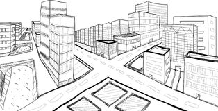 City perspective. Sketching representing two points perspective city. additional file available stock illustration