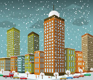 City in perspective (winter) Stock Photo