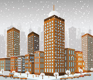 City in perspective (winter) Stock Images