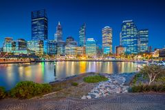 City of Perth, Australia. Cityscape image of Perth downtown skyline, Australia during sunset Royalty Free Stock Photos