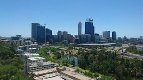 City of Perth skyline. Video footage of Perth skyline, Western Australia stock video footage