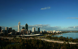 The City of Perth, Western Australia. From Kings Park with the Swan River in the foreground Stock Photos