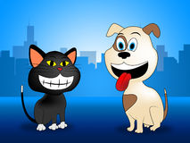 City Pets Indicates Domestic Dog Cat And Buildings Stock Images