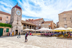 City piazza Trogir. City piazza in Trogir that is part of the town which is UNESCO world heritage site Royalty Free Stock Photo