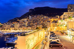 City Pier, Jetty In night, Monte Carlo architecture. Stock Image