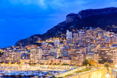 City Pier, Jetty In night, Monte Carlo architecture. Royalty Free Stock Photo