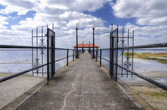 City pier during a storm. Sebring city pier on Lake Jackson Stock Photo