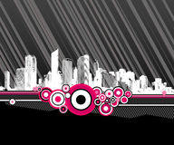 City with pink circles. Vector Royalty Free Stock Photos