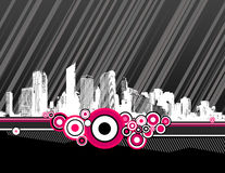 City with pink circles. Vector Stock Photos