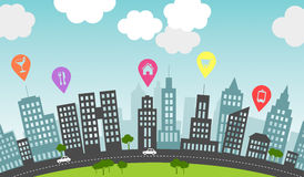 City pins. Royalty Free Stock Images