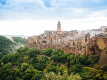 City of Pitigliano in Tuscany, Italy after sunset Royalty Free Stock Photo