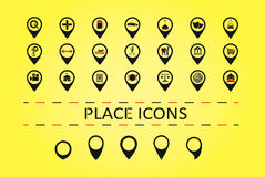 City places icons and 5 different map marks. Stock Photos