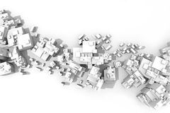 City plan. Extra large, abstract city aerial view, with white buildings over white background Royalty Free Stock Photo