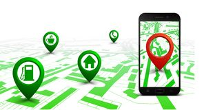 City plan with GPS navigation, city map route navigation smartphone, phone point marker, itinerary destination city map royalty free illustration