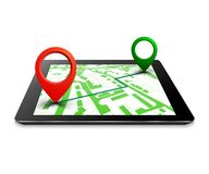 City plan with GPS navigation, city map route navigation tablet, tablet point marker, itinerary destination city map stock illustration
