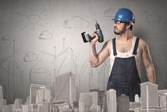 City plan with worker. Royalty Free Stock Photos