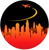 City with plane flying  Royalty Free Stock Photo