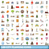 100 city planning icons set, cartoon style Stock Photo