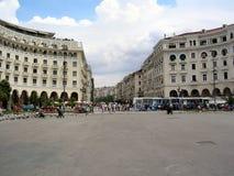 City plaza. Thessaloniki city plaza with traffic nad people Stock Image