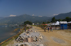 City of Pokhara, Nepal. The shores of Phewa lake in Pokhara , Nepal Stock Photography