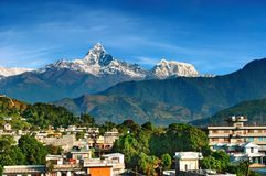 City of Pokhara, Nepal. City of Pokhara and mount Machhapuchhre, Nepal Stock Photo