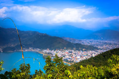 City of Pokhara,Nepal. The beautiful city of Pokhara Nepal seen from the top of World Peace Stupa stock photography