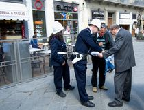 City police  in Florence. City police advise tourists in Florence Royalty Free Stock Images