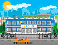 City police station biulding, car, tree, cityscape Stock Photo