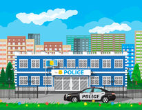 City police station, car, tree, cityscape Stock Images