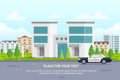 City police station with place for text - modern vector illustration Royalty Free Stock Images