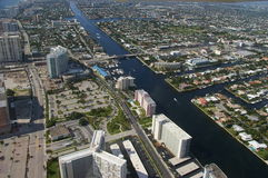 City of Pompano Beach. Pompano Beach overview Homes by canal stock photos