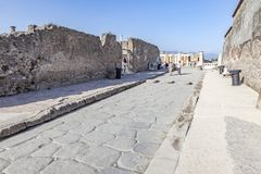 The city of Pompeii buried under a layer of ash by the volcano Mount Vesuvius royalty free stock photo