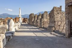 The city of Pompeii buried under a layer of ash by the volcano Mount Vesuvius royalty free stock images