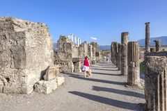 The city of Pompeii buried under a layer of ash by the volcano Mount Vesuvius royalty free stock photos