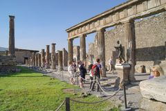 The city of Pompeii buried under a layer of ash by the volcano Mount Vesuvius. Temple of Apollo. Sculpture stock photos