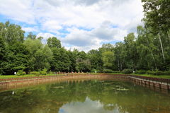 City pond. Abandoned wild pond with mud in the middle of the city park Stock Image