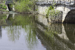 City pond. And a quiet creek under the bridge Royalty Free Stock Photography