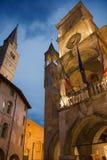 City of Pordenone dusk. Night view of the city of Pordenone Stock Image