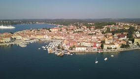 City of Porec Croatia from the sky. Aerial shot stock footage