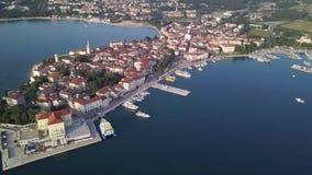City of Porec Croatia from the sky. Aerial shot stock video