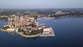 City of Porec Croatia from the sky. Aerial shot stock video footage