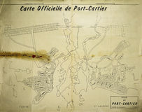 City of Port-Cartier official map in 1962 Stock Photos