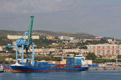 City, port, container carrier. Marseille, France Royalty Free Stock Photo