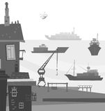 City port illustration Royalty Free Stock Images